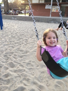 A few months ago, pumping on her own at the playground.