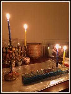 First night, two menorahs