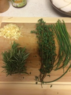 Herbs and garlic to flavor...the rosemary is fresh from my garden!